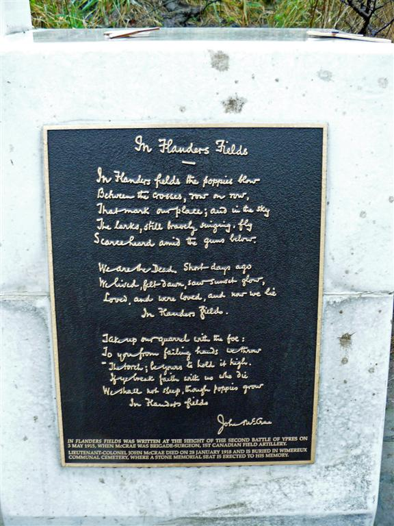 flanders fields poem plaque